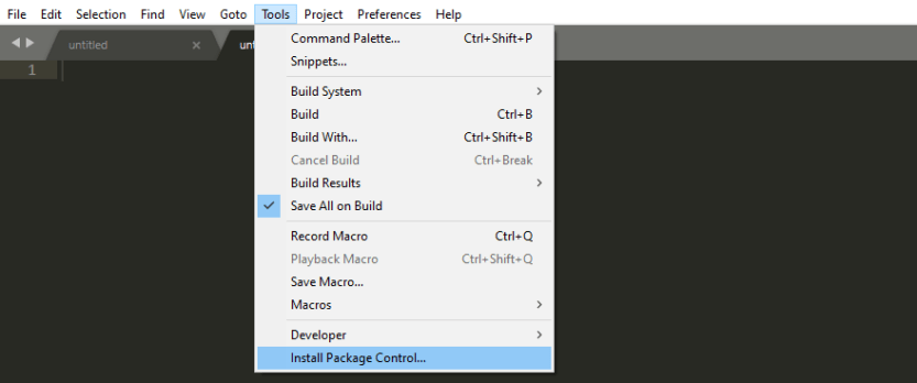 Installing Sublime Package Control.