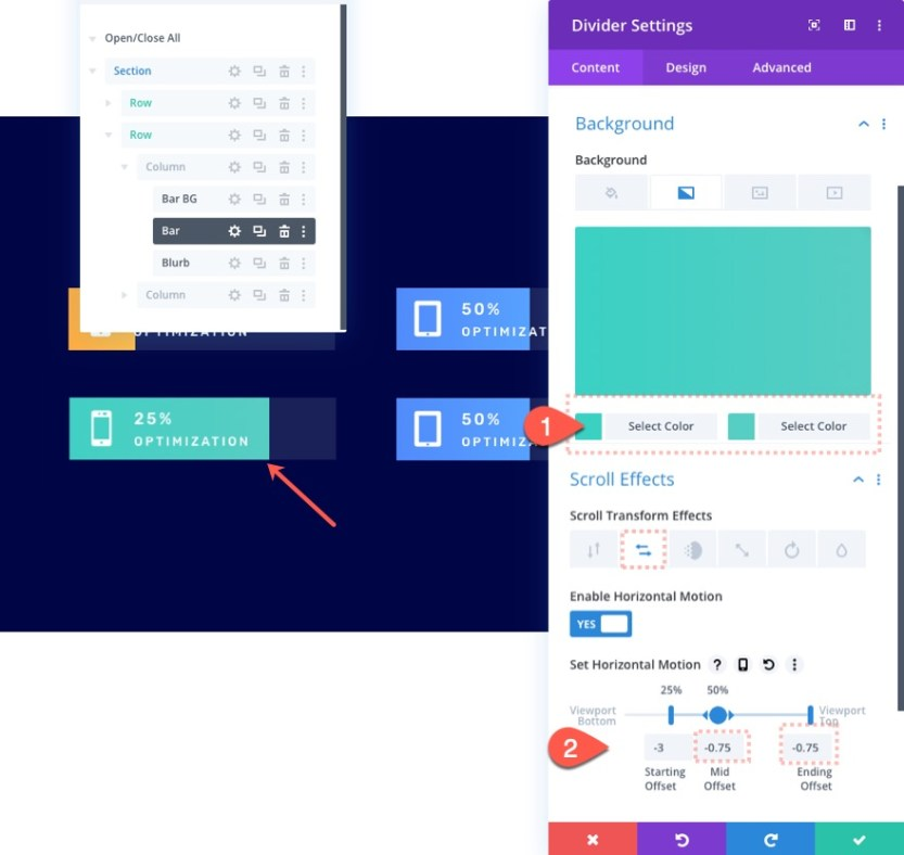 divi bar counters with scroll effects