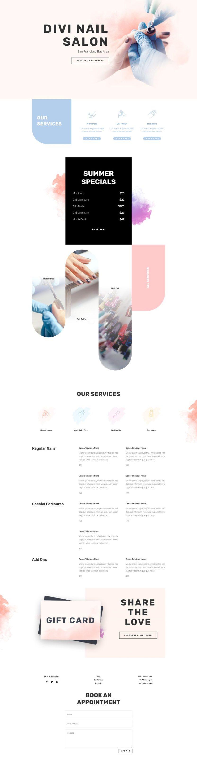 nail salon website