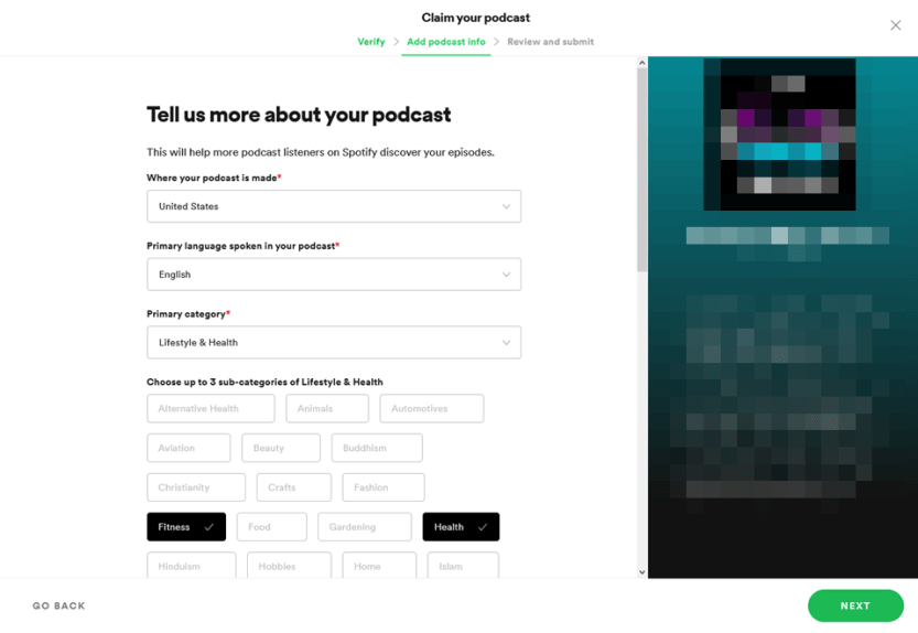 setting podcast visibility categories