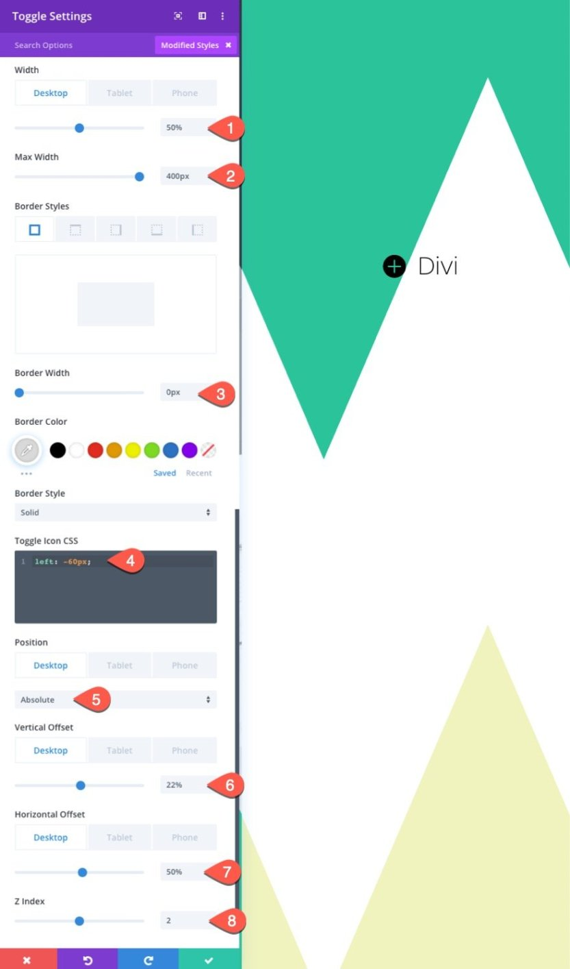 full split-screen layout with custom toggles