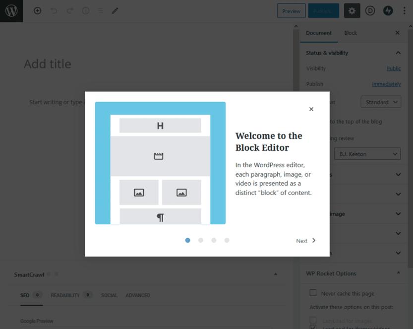 block editor welcome box