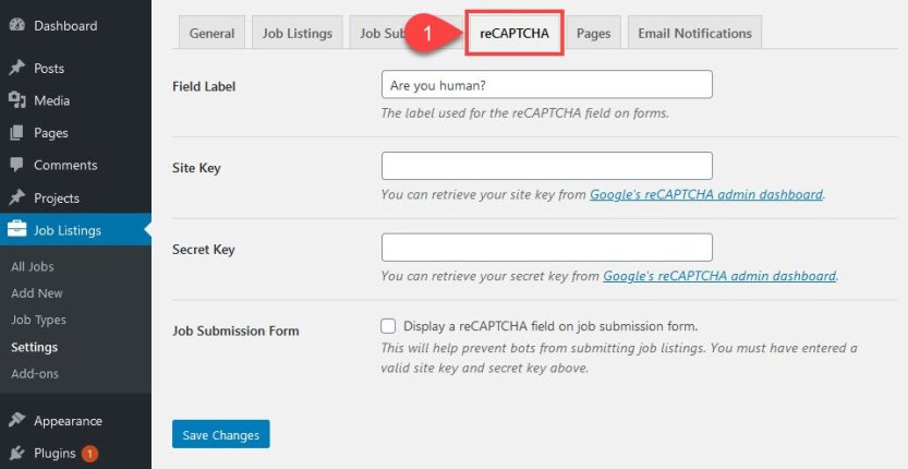 how to create a job board and add re CAPTCHA