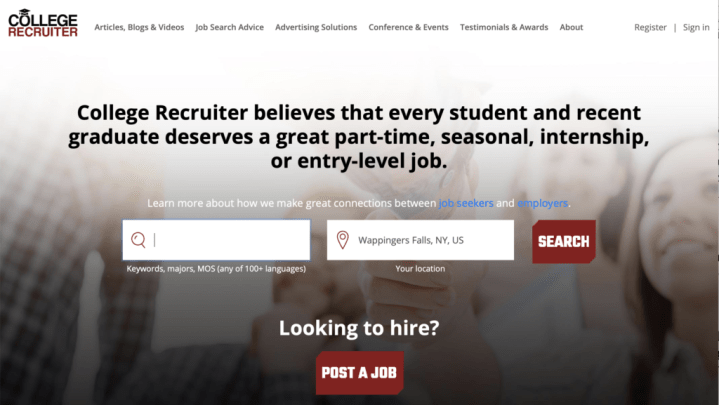 College Recruiter homepage