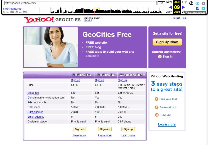 The GeoCities website.
