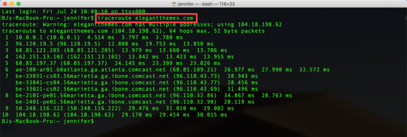 traceroute on mac terminal