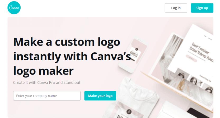 Canva's Logo Maker homepage.