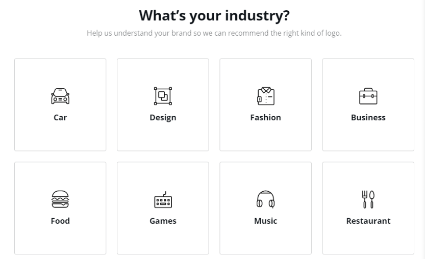 Selecting your industry.
