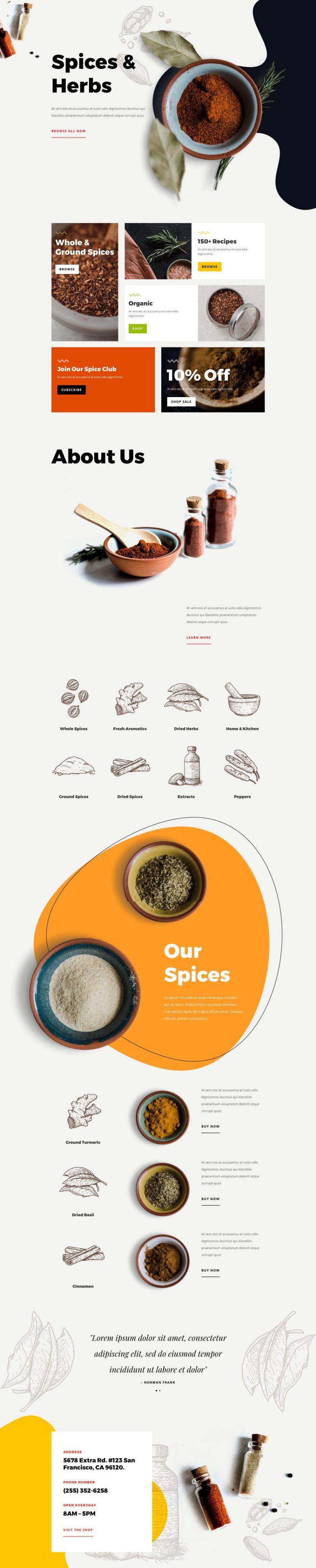 divi spice shop layout pack