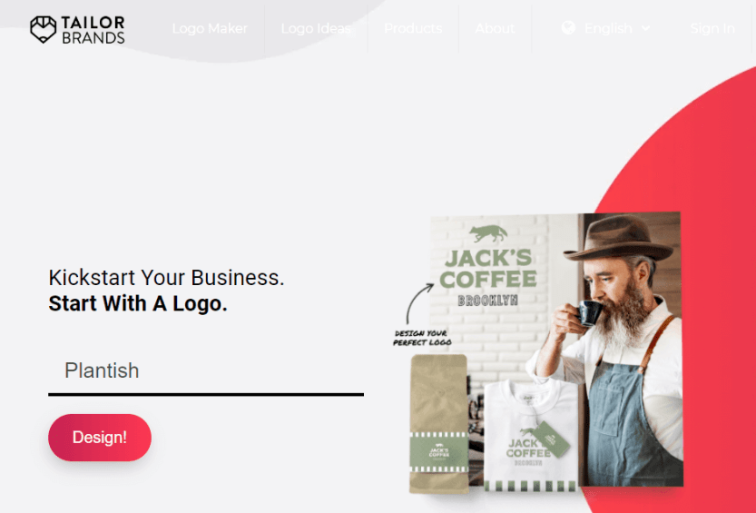 The Tailor Brands homepage.