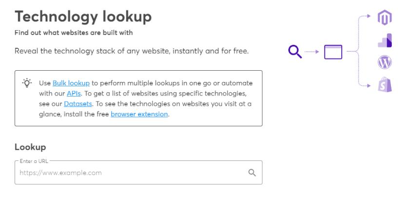 The Wappalyzer Lookup tool.