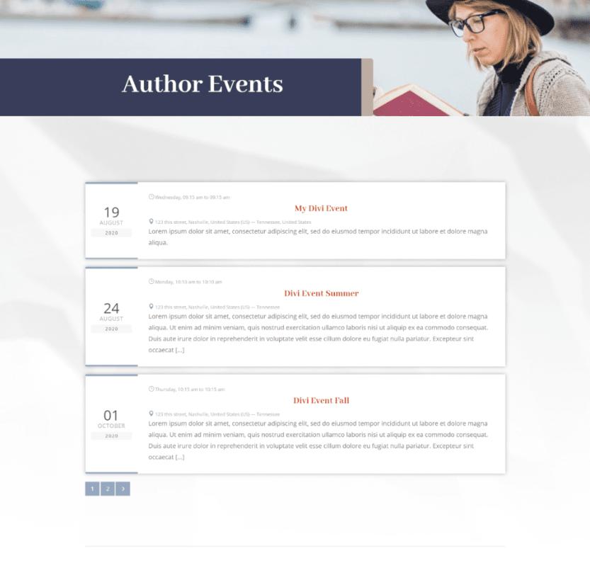 Divi Event List