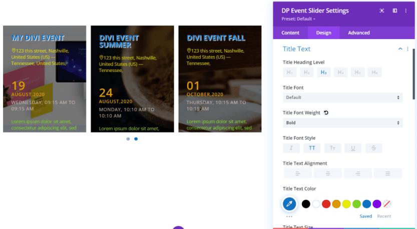 Divi Event Slider