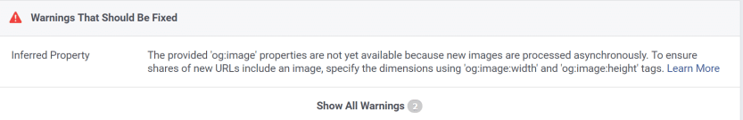An OpenGraph image tag warning.