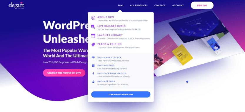 divi wordpress menu