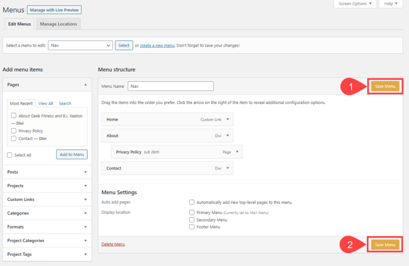 save your wordpress menus if you value the time you spent creating them