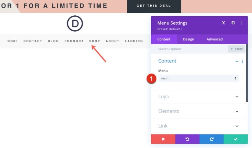 divi beauty product header footer template