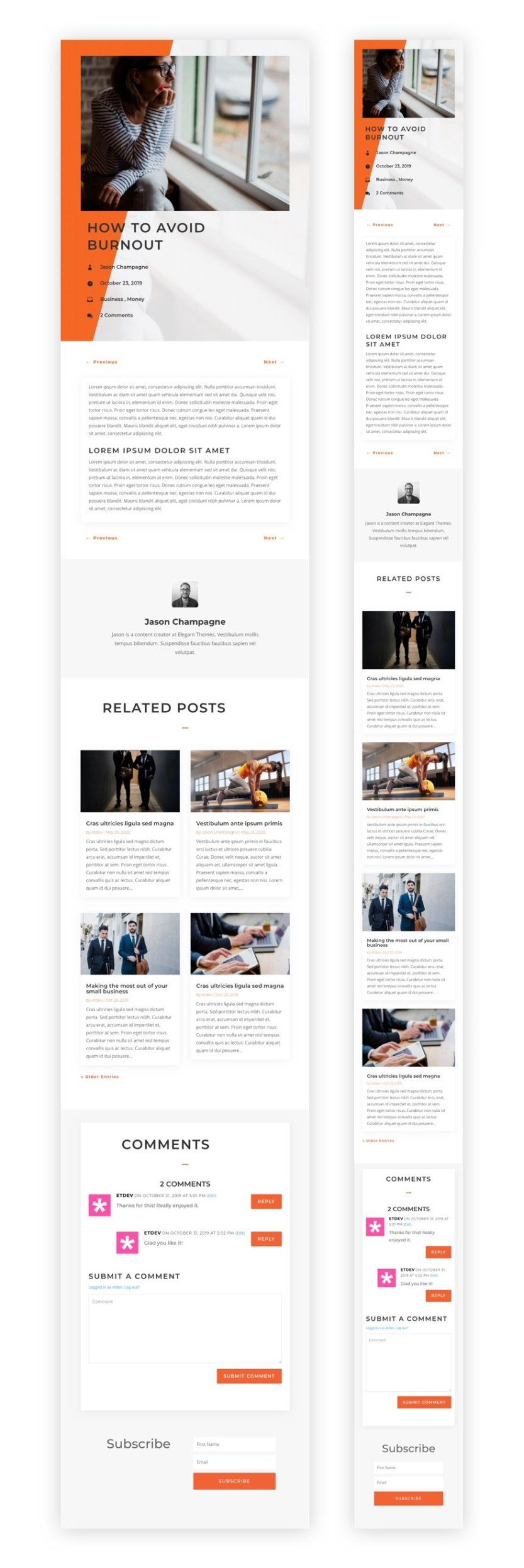 blog post template for divi's copywriter layout pack