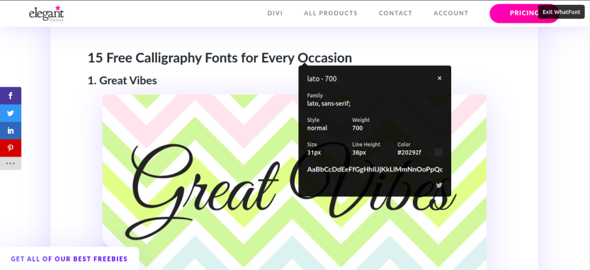 Using the WhatFont browser extension to check what font a website is using.