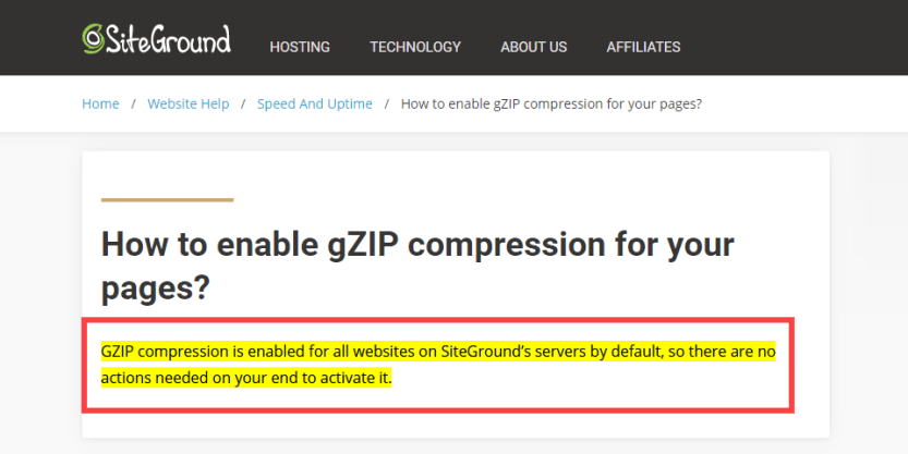 siteground automatically enables gzip