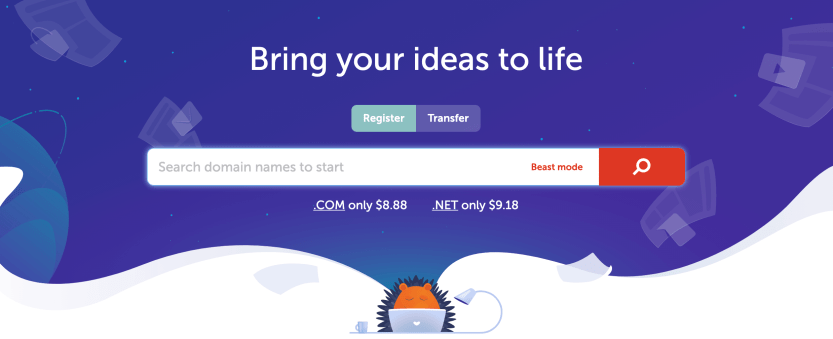 The search bar on Namecheap's site.