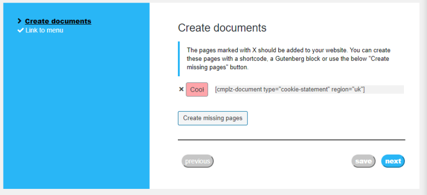 Generating a cookie policy page for UK users.