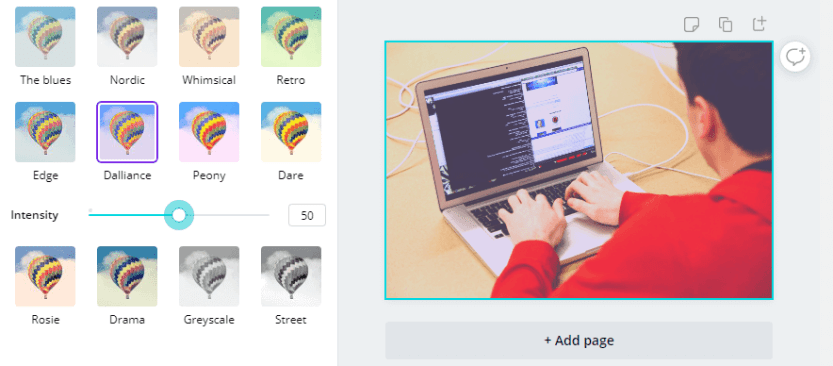 Applying a filter using Canva