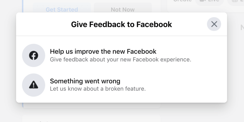 Accessing Facebook support.