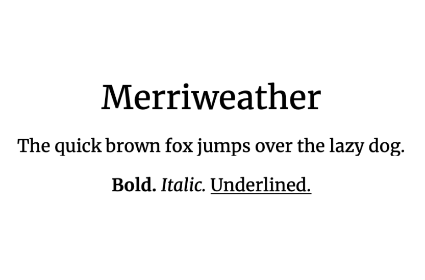 An example of the Merriweather font.