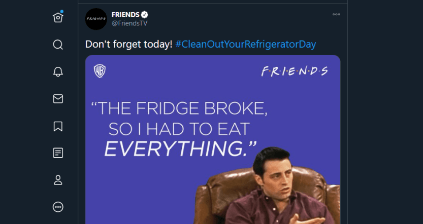 A tweet about cleaning out your refrigerator.