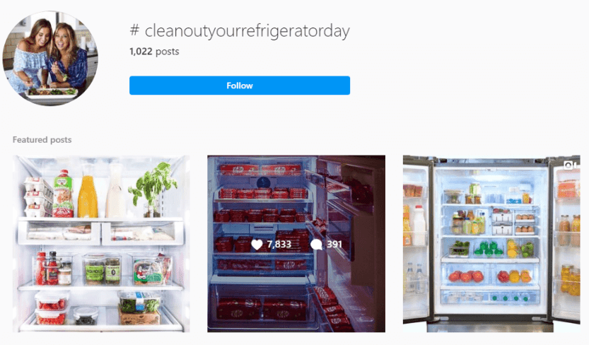 Checking out the Instagram hashtag for clean out your fridge day.