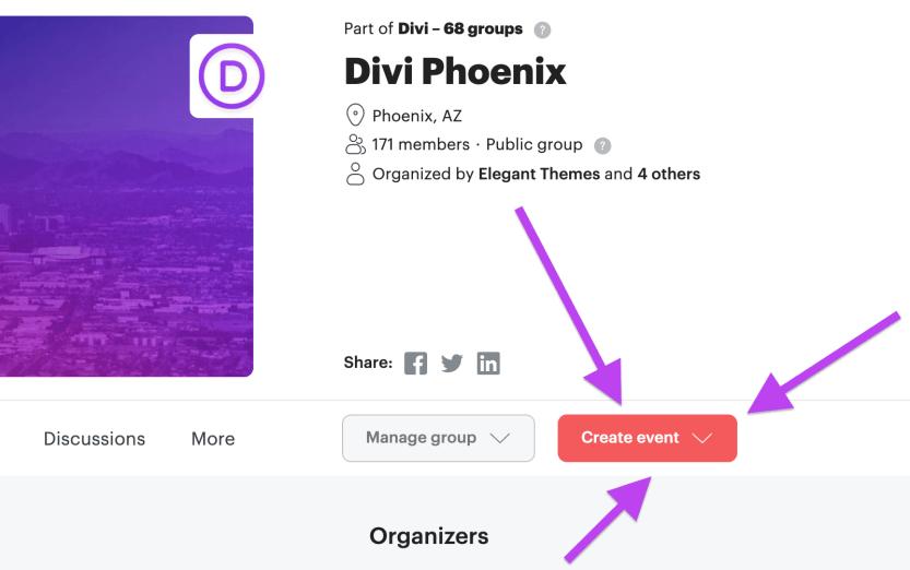 meetup create event button