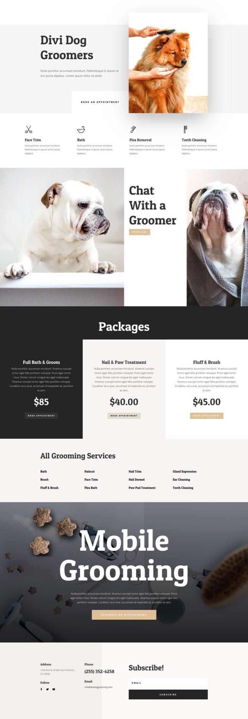 dog grooming website