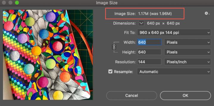 resizing image files in photoshop
