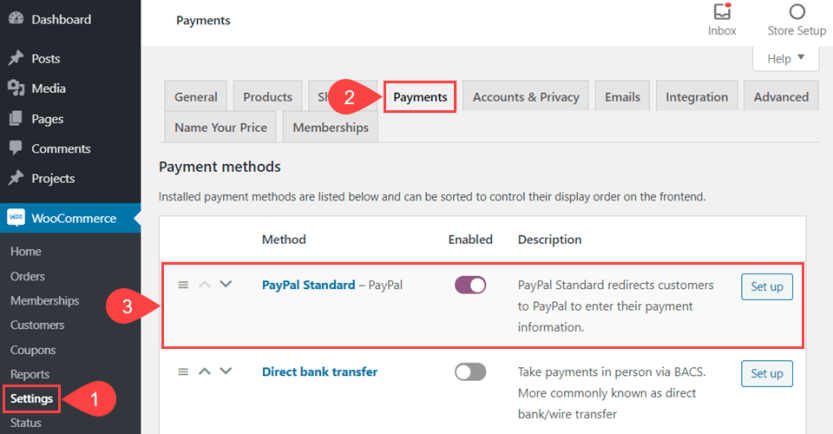 enable paypal in woocommerce