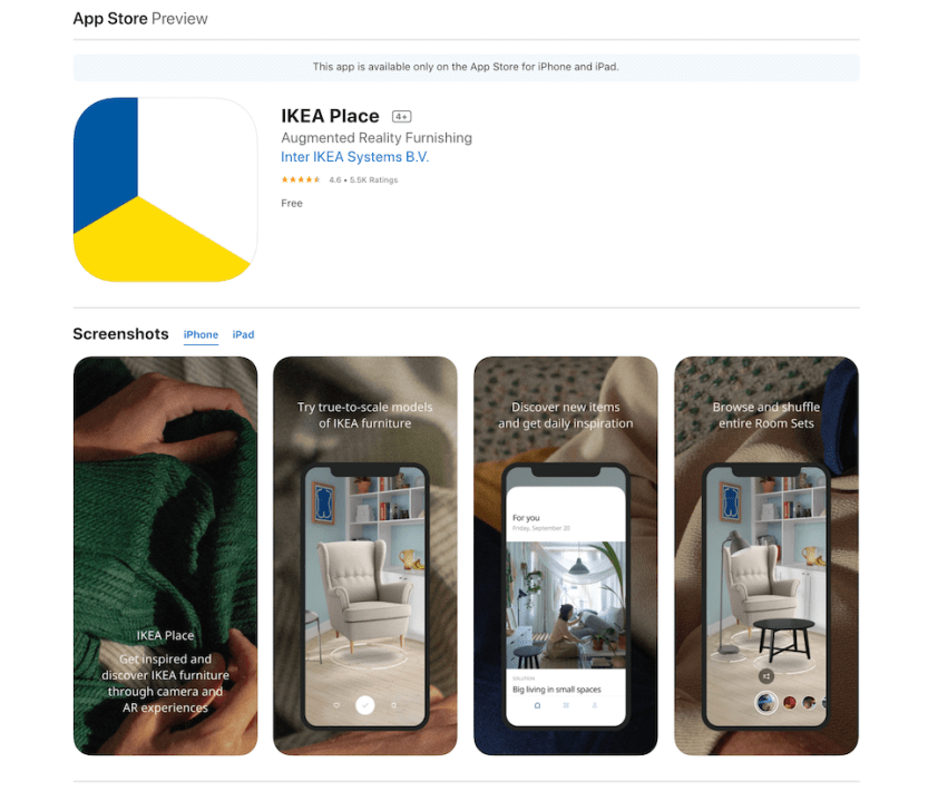 IKEA uses one of the latest tech trends in its Place AR app.