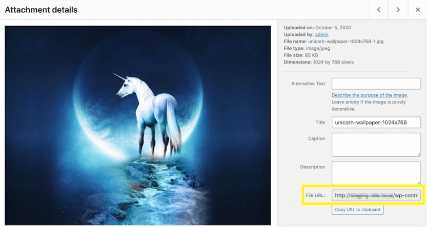 Identifying an image's URL in the WordPress Media Library.