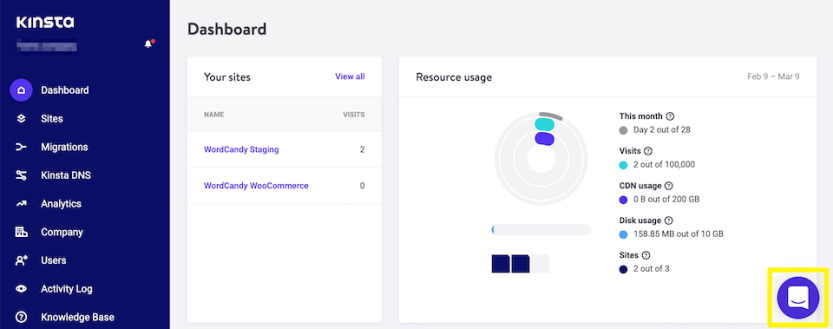 The Kinsta support chat button.