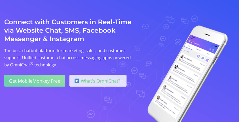 The MobileMonkey chatbot marketing tool for Facebook.