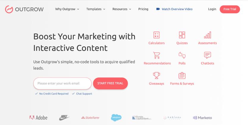 Outgrow interactive content Facebook marketing tool.