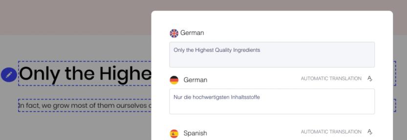 Reviewing translations using Weglot's visual editor