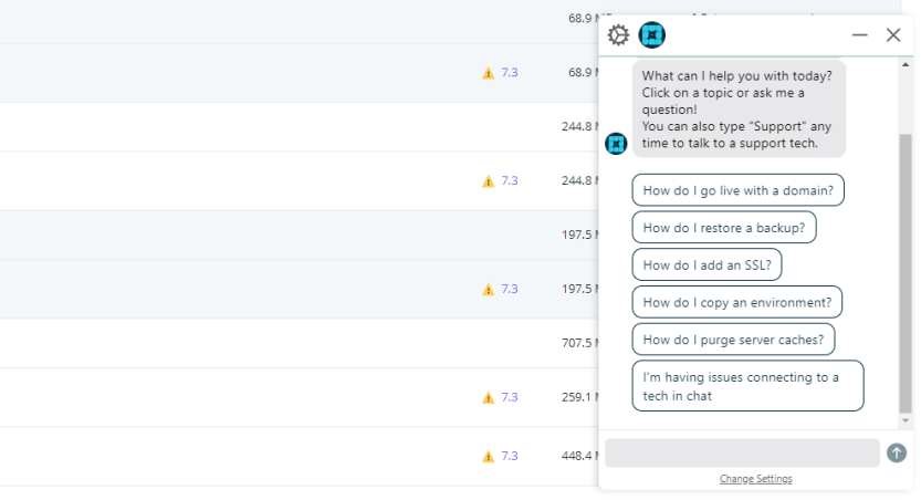Engaging with WP Engine's support via live chat