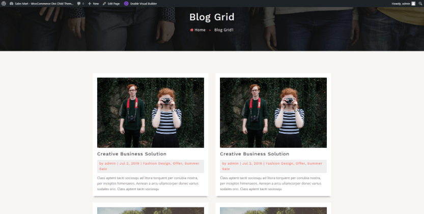 Sales Mart Blog Two Column Grid Page