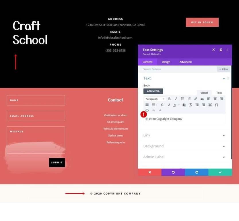 craft school header footer