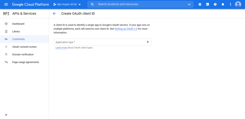 The first page of creating an OAuth client ID for WordPress Gmail login.