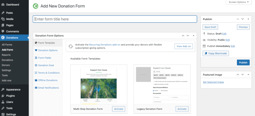 The GiveWP WordPress plugin for nonprofits settings.