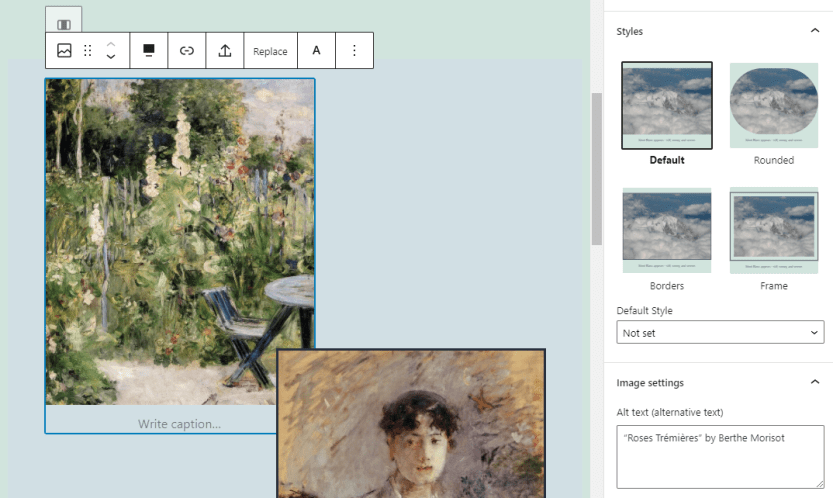 Changing an image's style using the Block Editor