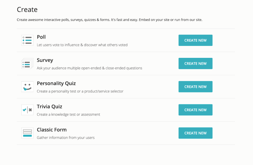The OpinionStage quiz, poll, and survey templates.