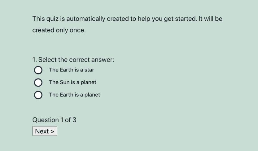 A quiz made with the Watu quiz plugin.
