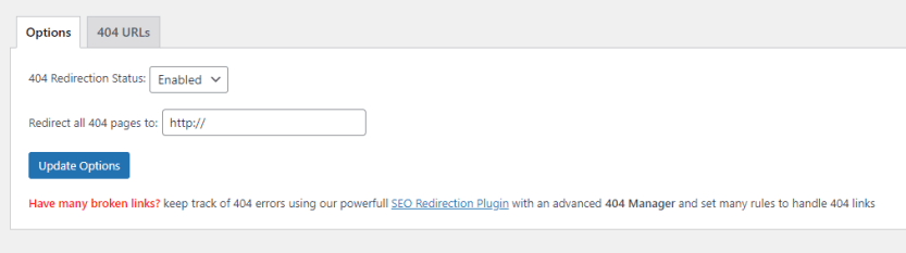 Setting up a redirect rule for 404 errors